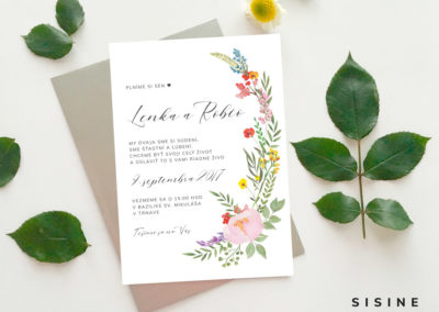 Oznámenie - motív lúčnych kvetov