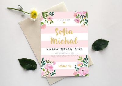 Oznámenie - set ružové kvety